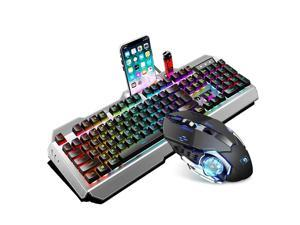 UKCOCO RGB Gaming Keyboard and Colorful Mouse Combo, USB Wired LED Backlight Gaming Mouse and Keyboard for Laptop PC Computer Gaming and Work, Letter Glow, Mechanical Feeling - Black
