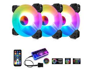 UKCOCO 3PCS ARGB Case Fans, 120mm Silent Computer Cooling PC Case Fan RGB Color Changing LED Fan with Remote Controller Fan Hub and Extension with Music Controller