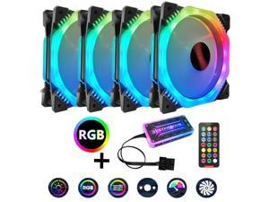 UKCOCO 4PCS RGB Case Fans, 120mm Silent Computer Cooling PC Case Fan RGB Color Changing LED Fan with Remote Controller