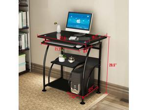 """HOMEMAXS 29"""" Computer Desk, 4 Floor Game Tablefor Small Space with Keyboard Drawer, Chassis Rack and Shelf"""