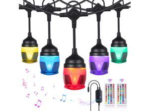 41ft LED String Lights, RGB String Lights Music Sync with 14 F12c Bulbs, IP65 Waterproof Dimmable LED Patio String Lights for Party Backyard Garden Christmas