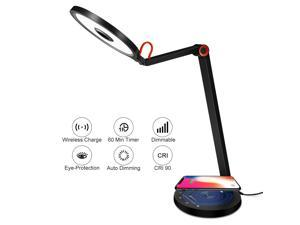 Desk Lamp with Wireless Charging - 15W Eye Care Desk Lamp, Auto Dimming, Timer, Touch Control, 5 Brightness Levels & 3 Color Modes Rotatable Desk Lamp for Office Reading, College Dorm, Living Room