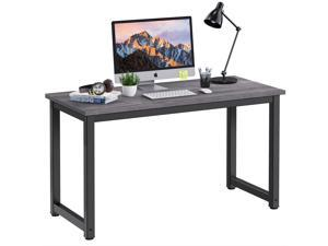 """HOMEMAXS Computer Desk Table 47"""" Study Writing Table for Home Office, Modern Sturdy Office Desk for Small Spaces with Bookshelf Grey"""