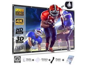 HOMEMAXS Projector Screen 120 Inch,Portable Movie Screen for Outdoor Indoor,4K 16:9 HD Foldable Wrinkle-Free Projection Screen(1.1 GAIN,160°Viewing),Support Front Rear Projection