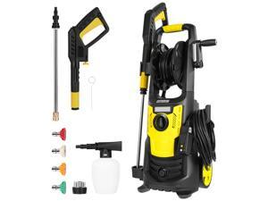 HOMEMAXS Electric Pressure Washer| 2600PSI 1. 8 GPM 1600W High Pressure Washer with Spray, Adapter, 19. 68ft Hose & 4 Interchangeable Nozzle for Cleaning Patio, Garden, Yard, Vehicle