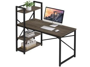 """HOMEMAX Computer Desk with Shelves 55.1"""" Writing Study Table with Adjustable Storage Modern Home Office Desk with Reversible Bookshelf Rustic Gray"""
