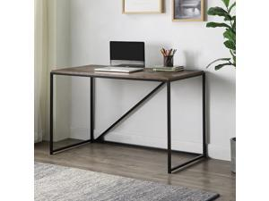 """46"""" Home Office Computer Desk Small Desk Home Office Study Desk Modern Simple Laptop Table Gaming Desk Metal Frame Easy Assembly Industrial Style Brown"""