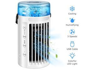 Portable Air Conditioner Fan 4 in 1 Mini Air Cooler Desk Cooling Fan Quiet Humidifier Misting Fan with 7 Colors Night Light, 3 Speeds, for Room Office