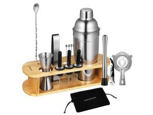 HOMEMAXS Bartender Kit with Bamboo Stand, 17pcs Cocktail Shaker Bar Set for Drink Mixing, Perfect Home Bartending Kit Tools With Martini Shaker