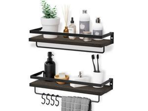 HOMEMAXS Wall Mounted Shelves, Multifunctional Wood Shelf with 2 Towel Holders & 4 Extra Hooks - Set of 3 Decoration Shelves for Bathroom, Kitchen and Living Room, Dark Gray