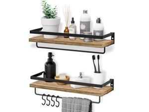 HOMEMAXS Wall Mounted Shelves,Multifunctional Wood Shelf with 2 Towel Holders & 4 Extra Hooks - Set of 3 Decoration Shelves for Bathroom, Kitchen and Living Room, Orginal Wood