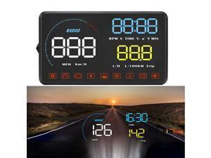HOMEMAXS Universal Car HUD Head Up Display Digital GPS Speedometer with Speedup Test Brake Test Overspeed Alarm LCD Display for All Vehicle
