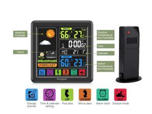 HOMEMAXS Weather Station, Wireless Indoor Outdoor Thermometer, Digital Clock, Temperature Humidity Monitor, Forecast Weather Stations, with Backlight And Accurate Temperature and Humidity Sensor