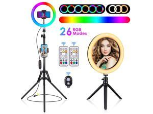 """HOMEMAXS 10"""" LED Ring Light, with Stand & Remote Control & Phone Holder & Camera Remote, 360° Angle Adjustable Selfie  Light with 3 Normal Light Modes & 26 RGB Modes, for Live Streaming Video Shooting"""