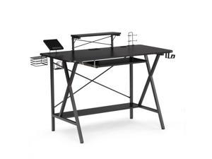 """47"""" Gaming Desk Table, E-Sports Computer Desk, Gaming Workstation Desk, PC Stand Shelf Keyboard stand Power Strip with USB Cup Holder & Headphone Hook Home Office Desk Gamer Desk Writing Table"""