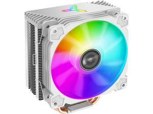 JONSBO CR1000 WHITE CPU Cooler ,White Air Cooler series H:158mm, 4 Copper Heat-pipes Insert Aluminum Fin for AMD Ryzen/Intel  LGA1200/115X, 120mm PWM  Colorful Fan  Detachable Blade, Lighting Top