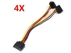 4X Sata Power 15-Pin Y-Splitter Cable Adapter Male To Female For Hdd Hard Drive