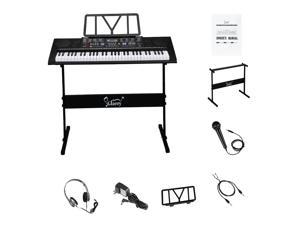 61-Key Electronic Keyboard Portable Digital Music Piano with Touch Sensitive Keys, Piano Stand, Built In Speakers, Headphone, Microphone, USB Port & Teaching Modes for Beginners