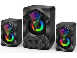 Computer Speaker with Subwoofer,  USB-Powered 2.1 Stereo Multimedia Speakers System with RGB LED Light 3.5mm Audio Input Great for Music,Movies,Gaming,PC,Laptop,Tablet,Desktop