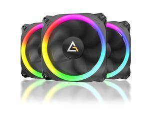RGB Fans, 120mm Case Fan, RGB High Performance PC Fan, 4-Pin RGB, Spark Series, 3 Packs