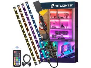 LED Strip Lights, 4 Pre-Cut 1ft/4ft Small LED Light Strips Dimmable, RGB 5050 Color Changing LED Tape Light with Remote and UL-Listed Adapter for TV Backlight, Bedroom, Cabinet Shelf Display