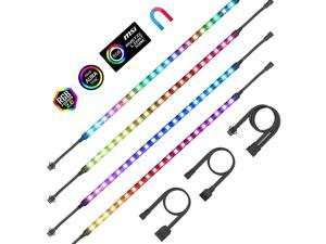 PC Addressable RGB LED Strip Lights Magnetic LED Light Strip for PC Case DIY Lighting 5V 3-pin ARGB Headers 14in 4PCS 84 LEDs Compatible with ASUS Aura Gigabyte Fusion MSI Mystic Motherboard