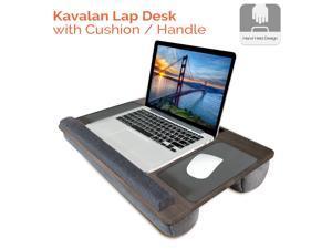 Lap Desk, Kavalan Portable Laptop Desk with Pillow Cushion & Handle, Designed w/Tablet & Phone & Gadget Slot, Right & Left Handed Mousepad, Ergonomic Wrist Pad, Fit 17.3 inch Laptop, Oak