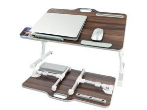 Laptop Bed Tray Table, Kavalan Portable Standing Desk, Foldable Laptop Bed Stand w/Top Handle, Storage Drawer & Phone/Pen Slot, Lap Desk for Working, Eating, Reading on Bed, Sofa & Couch, Oak