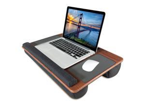 Lap Desk, Kavalan Portable Laptop Desk with Pillow Cushion & Handle, Designed w/Tablet & Phone & Gadget Slot, Right & Left Handed Mousepad, Ergonomic Wrist Pad, Fit 17.3 inch Laptop, Cherry Wood