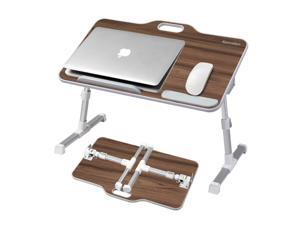 Kavalan Adjustable Height Desk, Laptop Bed Tray Table, Portable Gaming Desk, Height Foldable Lap Tablet desk for Bed Sofa Couch Floor, Black Teak