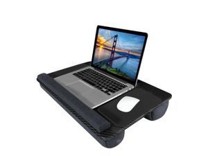Lap Desk, Kavalan Portable Laptop Desk with Pillow Cushion & Handle, Designed w/Tablet & Phone & Gadget Slot, Right & Left Handed Mousepad, Ergonomic Wrist Pad, Fit 17.3 inch Laptop, Black