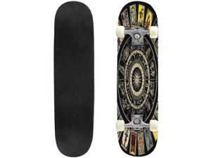 Classic Concave Skateboard for Boys Girls Beginners, Wheel of the Zodiac Astrology Chart   the Major Arcana Tapestry Standard Skateboards 31''x 8'' Extreme Sports Outdoor Skateboards