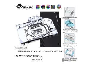 Bykski GPU Water Block For MSI RTX 3060 GAMING X TRIO 2X Full Cover Water Cooling Cooler , N-MS3060TRIO-X