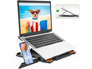 Laptop Stand for Desk Adjustable Height Angle Swivel Laptop Riser, TopMate Foldable Computer Stands Portable Laptop Holder with Phone Stand, Rotating Notebook Lift, for 10-17 Inch Laptops/MacBook