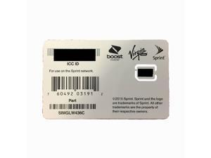 Sprint SIM Card   Nano Format   SIMGLW416TQ   Also Works with Boost Mobile and Virgin Mobile - Unactivated