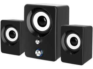 Computer Speakers 2.1 Subwoofer, Maboo 3.5mm Jack PC Speakers Wired with Subwoofer, USB Powered Multimedia 2.1 Channel for Desktop, Windows, Laptop, Tablets, Smartphone, PC, Gaming Black (Speaker 2.1)