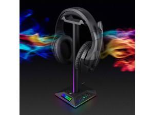 Headphone Stand, RGB Headphone Stand HEANTTV with Wireless Charger, Headset Holder for Desk with Colorful LED Light and 10W/7.5W Fast Charge QI Wireless Charging Pad( Black)