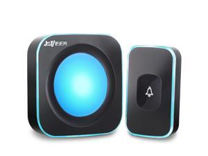 Wireless Doorbell JSIEEM Waterproof Door Bell Operating at 1000 feet with 36 Melodies 4 Volume levels 7 colour Flash Light,for Home, Office (1 Receiver&1 Touch Button, Black)