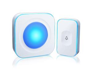 Wireless Doorbell Waterproof Doorbells for Home Operating at 1000 Feet with 36 Melodies 4 Volume levels, Flash Led Light (1 Receiver&1 Touch Button White)
