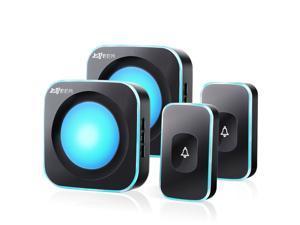 Wireless Doorbell Waterproof Door bell Chime 2 Buttons with Different Tones 1000ft Range Flashing Light 36 Melodies 4 Volume 2 Receivers & 2 Transmitters Black JSIEEM