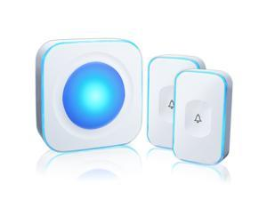 Wireless Doorbell Waterproof Door Bell with 2 Buttons with Different Tones Operating at 1000 feet 36 Melodies 4 Volume levels Flash Light 1 Receiver 2 Button White JSIEEM