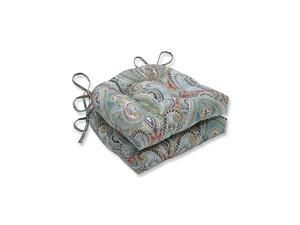 Outdoor | Indoor Pretty Witty Reef Reversible Chair Pad Set of 2 Blue 16 X 155 X 4