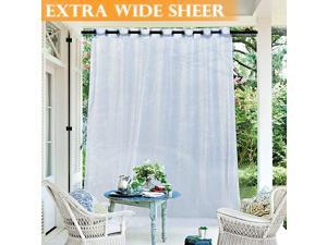 Outdoor Sheer Curtain Window Treatment Grommet Top Waterproof Outdoor Indoor Privacy Voile Drape for PatioPergola with 1 Free Tieback Rope Wide 100 by Long 84 Inch