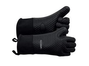 Grilling Gloves Heat Resistant Gloves BBQ Kitchen Silicone Oven Mitts Long Waterproof NonSlip Potholder for Barbecue Cooking Baking Black