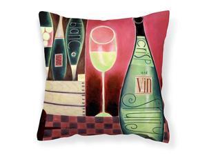 BCBR0068PW1414 Wine Collection Blanc by Cathy Brear Canvas Decorative Pillow 14Hx14W Multicolor