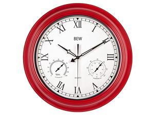Large Outdoor Clock 18 Inch Waterproof Thermometer Hygrometer Rustic Roman Wall Clocks Silent Metal Iron Battery Operated Wall Clock for Patio Pool Garden Lanai Fence Porch Empire Red