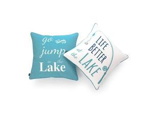 Lake House Indoor Outdoor Pillow Cover ONLY Water Resistant for Patio Lounge Sofa Aqua Navy White Life Better Go Jump in Lake 18quotx18quot Set of 2