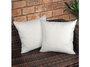 Pack of 2 Decorative Outdoor Waterproof Throw Pillow Covers Square UV Protection Garden Cushion Case PU Coating Pillow Shell for Patio Porch and Balcony White 18x18 Inch