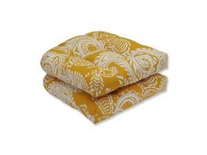 OutdoorIndoor Addie Egg Yolk Tufted Seat Cushions Round Back 19quot x 19quot Yellow 2 Pack