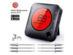 Meat Thermometer Wireless Meat Thermometer Wireless Digital Grill Thermometer with 6 Temperature Probes Large LCD Display Thermometer for Grill Smoker Oven Cooking and BBQ